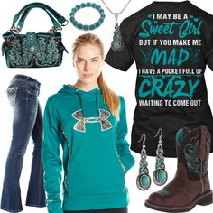 If You Make Me Mad I Have A Pocket Full Of Crazy Outfit - Real Country Ladies Source by for girls Country Girl Shirts, Country Style Outfits, Country Girl Style, Cute N Country, Country Fashion, Shirts For Girls, My Style, Country Wear, Country Chic