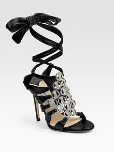 Jimmy Choo Marine Jeweled Ankle-Wrap Sandals: step into the New Year in STYLLLEEE :-) or something like these lol. Fab Shoes, Pretty Shoes, Beautiful Shoes, Me Too Shoes, Awesome Shoes, Beautiful Clothes, Bridal Wedding Shoes, Jeweled Sandals, Ankle Wrap Sandals