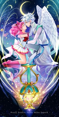 """Super Sailor Chibi Moon and Helios, other favorite couple on """"Sailor Moon"""" besides Queen Serenity and King Endinmyon, and Sailor Uranus and Neptune"""