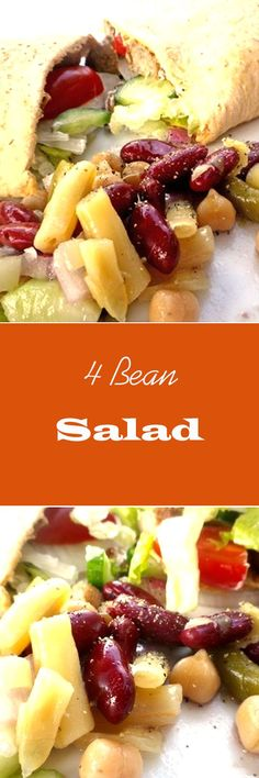 4 Bean Salad (Grandma's Recipe) - with ingredients like green beans, wax beans, garbanzo beans, kidney beans and a delicious dressing recipe - VERY yummy! | http://recipezazz.com