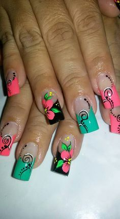 Casual Flower Nail Designs, Simple Nail Art Designs, Colorful Nail Designs, Gel Nail Designs, Fabulous Nails, Perfect Nails, Gorgeous Nails, Cruise Nails, Vacation Nails