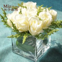 Miz Hogar 1 Unidades Pequeñas 9 Unidades Rosa Artificial Florero De Vidrio Transparente Set de Escritorio de Oficina de Calidad Superior Conjunto de Flores(China (Mainland))