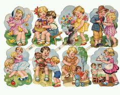 Vintage PZB Boys and Girls Scraps ~ Germany Vintage Baby Pictures, Images Vintage, Look Vintage, Vintage Prints, Children Images, Children Toys, Baby Kind, Vintage Easter, Vintage Greeting Cards