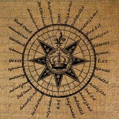 Drawing of Antique Compass Rose (hand-colored copper engraving ...
