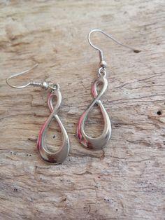 Large Silver Infinity 8 Earrings Hanging by BohoBeachJewelry Bohemian Beach, Modern Bohemian, Beach Jewelry, Dangle Earrings, Infinity, Dangles, Delicate, Silver, Handmade