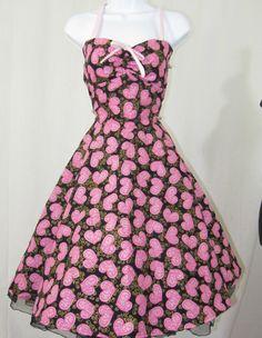 valentine hearts rockabilly dress with circle skirt