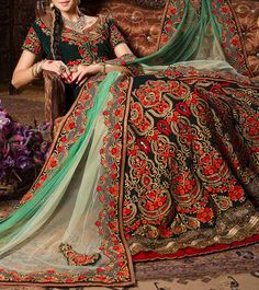 Dark Green Embroidered Velvet #Lehenga Set #Indianroots