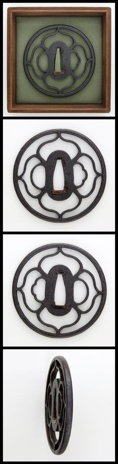 Edo Flower petals engraved open work on round iron Tsuba