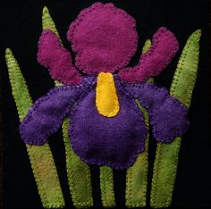 "Wool applique BOM PATTERN &/or KIT ""Iris"" block 1 of 24 in ""Four Seasons of Flowers"" folk wool quilt penny rug wall hanging bed runner Motifs Applique Laine, Wool Applique Patterns, Felt Applique, Applique Designs, Flower Applique, Pdf Patterns, Felt Embroidery, Block Patterns, Felt Flowers"