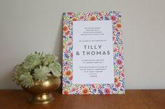 Bright Flowers Design Wedding Invitation by lucysaysido on Etsy