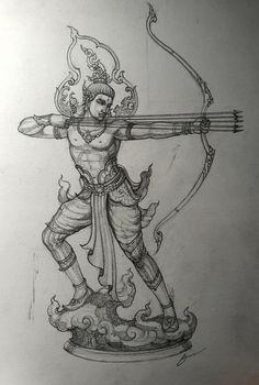 Cool Pencil Drawings, Dark Art Drawings, Art Drawings For Kids, Art Drawings Sketches, Indian Art Paintings, India Art, Thai Art, Krishna Art, Pen Art