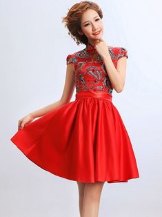 Short Flare Qipao / Cheongsam / Chinese Wedding / Evening Dress