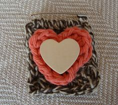 Crocheted BroochTwinchieBrooch PinHeart by ContainedHappiness