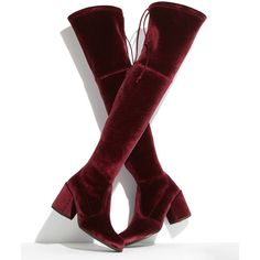 Stuart Weitzman Tieland Velvet Over-the-Knee Boot ($820) ❤ liked on Polyvore featuring shoes, boots, above the knee boots, above-knee boots, stuart weitzman, over-knee boots and velvet boots