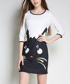 White & Black Cat Shift Dress