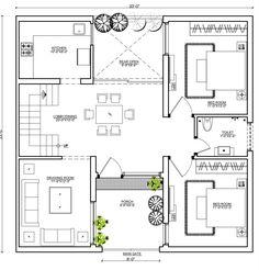 Bungalow Floor Plans, Duplex House Plans, House Layout Plans, Duplex House Design, House Layouts, Modern Exterior House Designs, Modern House Design, Clifton Houses, 30x40 House Plans