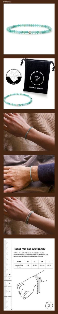 Echtes Amazonit Perlenarmband mit 925 Sterling Silberperle – 4mm Perlen, facettiert – Größe XS – BERGERLIN Feel Goods - 151a