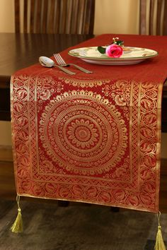 Bring Beauty And Style To Your Table Tops With The Exotic Oriental Runner From Banarsi Designs