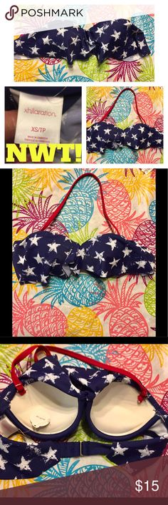 👙NWT! STAR PRINT PUSH-UP BIKINI TOP👙 BRAND NEW W/TAGS BLUE W/WHITE STAR PRINT SUPER PUSH-UP BIKINI TOP. HAS A DETACHABLE RED STRAP IN A CLEAR PLASTIC BAG-SEE PIC #2. INSIDE OF THE CUPS HAVE A BUILT IN SHELF THAT PUSH UP THE GIRLS-SEE PIC #3 & #5. Swim Bikinis