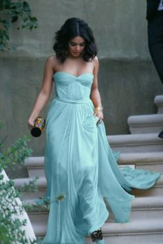 Vanessa Hudgens in a gorgeous draped blue gown