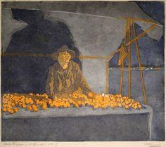 "✨ Martha Cunz, Swiss (1876-1961) - Orangenhändler, 1907, Farb Holzschnitt, in Bleistift signiert, bez. ""Orangenhändler Orig. Holzschnitt Handdr. No. 7"", im Stock monogr.: CM. 31,8 x 37 cm ::: Orange Seller, Colour Woodcut"