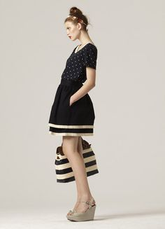 NEED THIS with longer skirt and of course 3/4 sleeves ... love Stripes, polka dots and accessories!