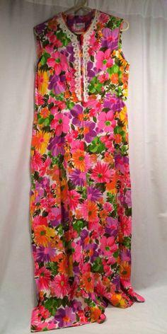 Vintage Evelyn Pearson Dress Bright Floral Pattern Sleeveless Medium/Large #EvelynPearson
