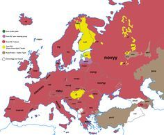 Etymology map for the word new in Europe