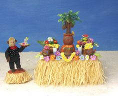 Charming Miniature Hawaiian Party Table with Fruits by DinkyWorld at Etsy