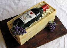 Wine bottle in a box Wine Bottle Cake, 65th Birthday, Wine Decor, Cute Cakes, Gum Paste, Let Them Eat Cake, Baby Shower Cakes, Cake Cookies, Cake Recipes