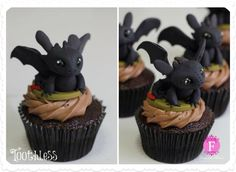 Toothless cupcakes!! (How to train your dragon)