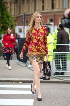 "I love this outfit! I want the skirt material to be one foot longer for myself, though (just below the knee). Lauren Santo Domingo ""paired an embroidered chinoserie sulk jacket with a Baroque-inspired brocade miniskirt"", per 2016 Town and Country Magazine. Brava."
