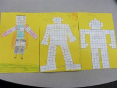 Area and perimeter bots. Students create robots whose body parts each have a specified area and/or perimeter.