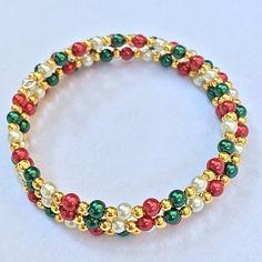 Items similar to Christmas Bracelet Memory Wire Bracelet, Red Green & White Triple Wrap Pearl Braclet, Elegant Wrapped Bracelet, Holiday Jewelry on Etsy Wire Wrapped Bracelet, Memory Wire Bracelets, Bohemian Bracelets, Beaded Bracelets, Wrap Bracelets, Bead Jewellery, Craft Jewelry, Jewelry Ideas, Beaded Jewelry