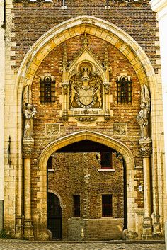A beautiful old gateway in Bruges, Belgium,