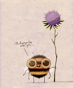 Love Buzz on Behance Cute Animal Illustration, Cute Animal Drawings, Cute Drawings, Illustration Art, Illustrations, Bee Art, Cute Cartoon, Rock Art, Watercolor Art