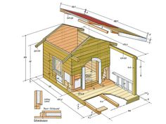 a dog house yourself - Instructions - You can see the dimensions of our doghouse from this sketch. -Build a dog house yourself - Instructions - You can see the dimensions of our doghouse from this sketch. Pallet Dog House, Build A Dog House, Dog House Plans, Luxury Dog House, Large Dog House, Cool Dog Houses, Cat Condo, Outdoor Dog, Animal House