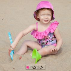On #Wednesdays we wear #PINK. See more #styles at fastenswim.com! #sunhat #girlswimsuit #beach #sand #beachack #fasten