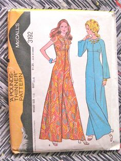 UNCUT 70s McCall's 3192 Sewing Pattern  Bust 34 by Fancywork ~ pretty, impractical Jumpsuit... I must figure out how to modify these