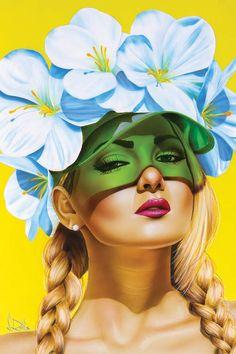 Pop Art Girl, Mellow Yellow, Face Art, Girl Face, Oeuvre D'art, Canvas Art Prints, Les Oeuvres, Designer, Fantasy Art