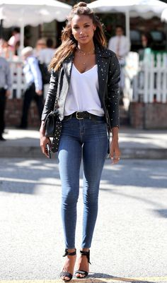 Celebrities in Denim: Jasmine Tookes in L'agence jeans
