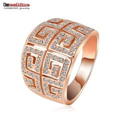 LZESHINE Brand Ring Vintage Retro Letter G Ring  Rose Gold /Silver Plated SWA Elements Austrian Crystal Ring Ri-HQ1019