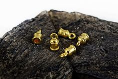 Gold Plated End Caps Cord Ends 10x5mm for 2mm by Mebeadterranean