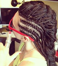 cornrows with bun | chestnut brown hair styled with tight braids and long cornrows