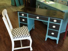 """Here is a super cute piece that you could use either as a desk or you could put a mirror above it and use it as a vanity (we have some mirrors that would be perfect). It also comes with the chair. What do you think?  The dimensions are 48"""" L, 20"""" W, 30"""" H. SOLD!! for $325."""