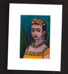 ACEO Frida Kahlo Portrait in her style Acrylic Miniature SFA  www.pennyleestewart.com #painting