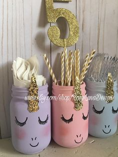 Tímida unicornio pastel mason jar conjunto cumpleaños
