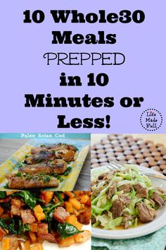For all of us procrastinators out there -- here are 40 Paleo meals prepped in 10 minutes or less! Don't miss this exhaustive list of great recipes. Whole 30 Diet, Paleo Whole 30, Whole 30 Recipes, Clean Eating Recipes, Whole Food Recipes, Healthy Eating, Cooking Recipes, Healthy Recipes, Paleo Meals