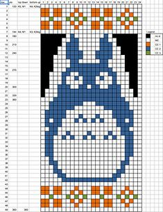 Ravelry: tintallie's My Neighbour Totoro Cross Stitch Letter Patterns, Cross Stitch Letters, Cross Stitch Embroidery, Stitch Patterns, Crochet Patterns, Fair Isle Knitting Patterns, Knitting Charts, Sweater Knitting Patterns, Weaving Projects