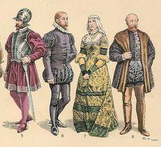 El oficio y la clase social determinaban la vestimenta de los hombres, en los Siglos XIII y XIV, solían llevar una túnica de manga larga que llegaba a la altura de la rodilla, un vestido holgado de mangas amplias, cinturón y encima una sobrecota sin mangas.